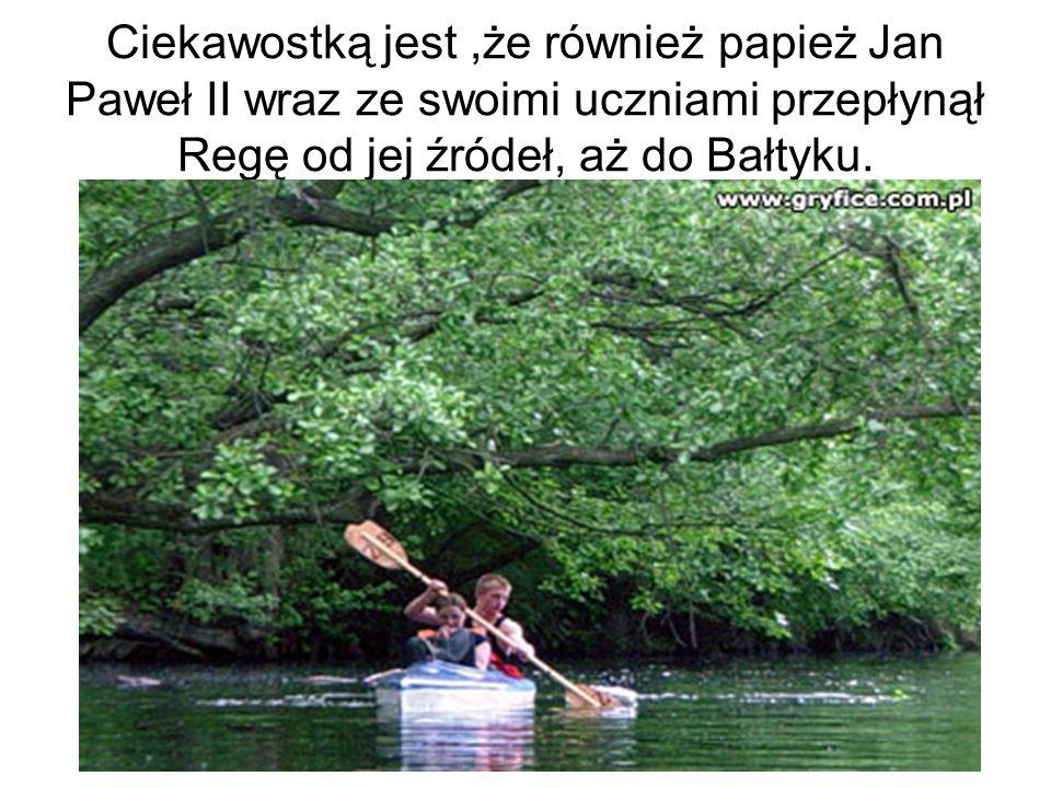 Ciekawostką jest ,że również papież Jan Paweł II wraz ze swoimi uczniami przepłynął Regę od jej źródeł, aż do Bałtyku.