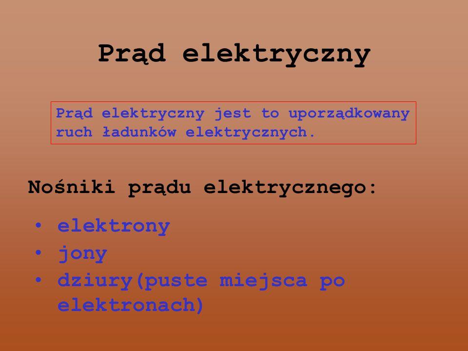 Prąd elektryczny Nośniki prądu elektrycznego: elektrony jony