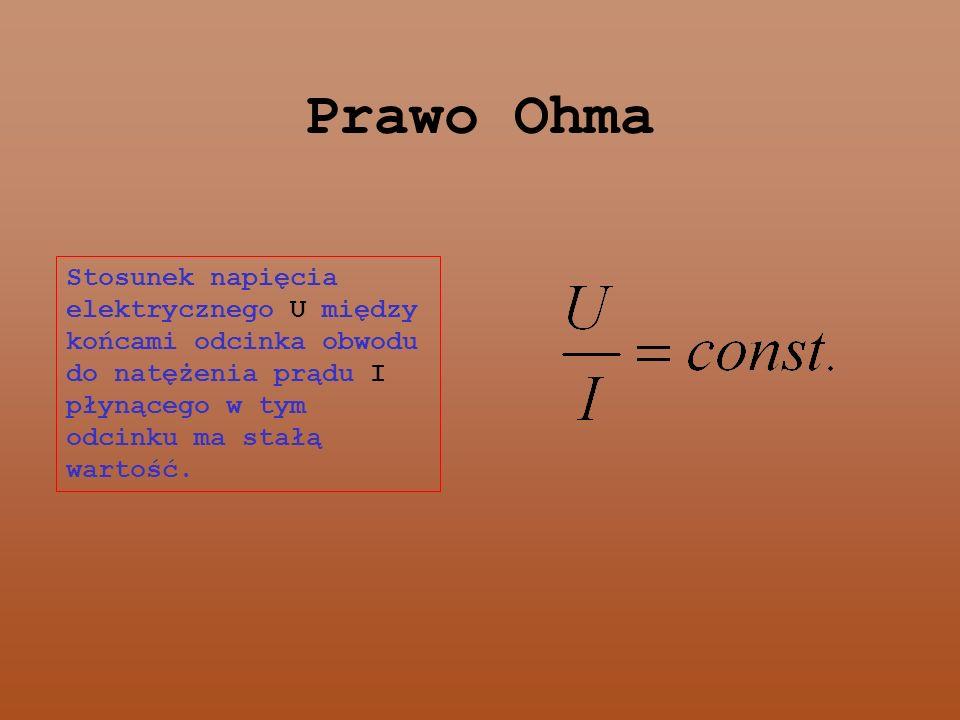 Prawo Ohma Stosunek napięcia elektrycznego U między końcami odcinka obwodu do natężenia prądu I płynącego w tym odcinku ma stałą wartość.