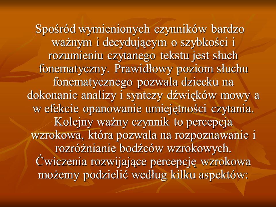 Spośród wymienionych czynników bardzo ważnym i decydującym o szybkości i rozumieniu czytanego tekstu jest słuch fonematyczny.