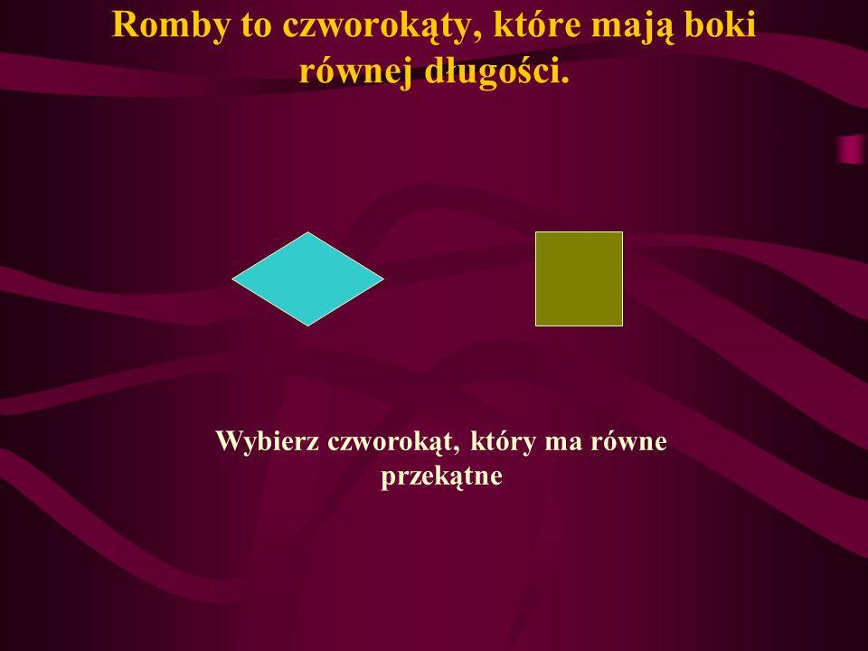 Romby to czworokąty, które mają boki równej długości.