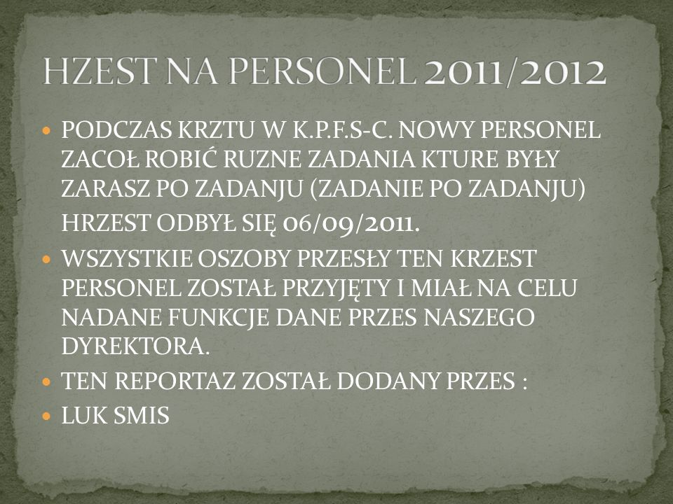 HZEST NA PERSONEL 2011/2012