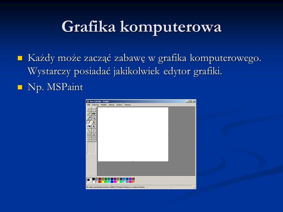 Grafika komputerowa Każdy może zacząć zabawę w grafika komputerowego. Wystarczy posiadać jakikolwiek edytor grafiki.