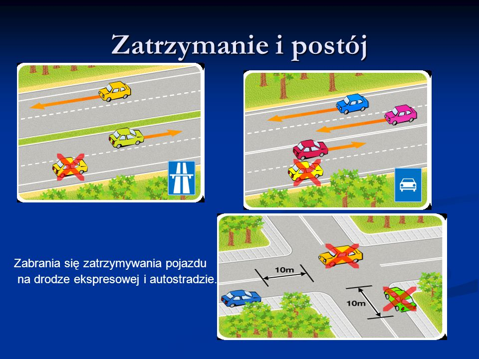 Zatrzymanie i postój Zabrania się zatrzymywania pojazdu