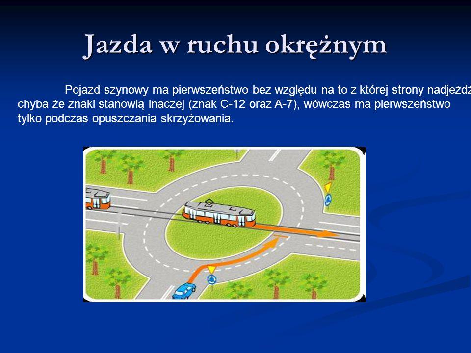 Jazda w ruchu okrężnym Pojazd szynowy ma pierwszeństwo bez względu na to z której strony nadjeżdża,