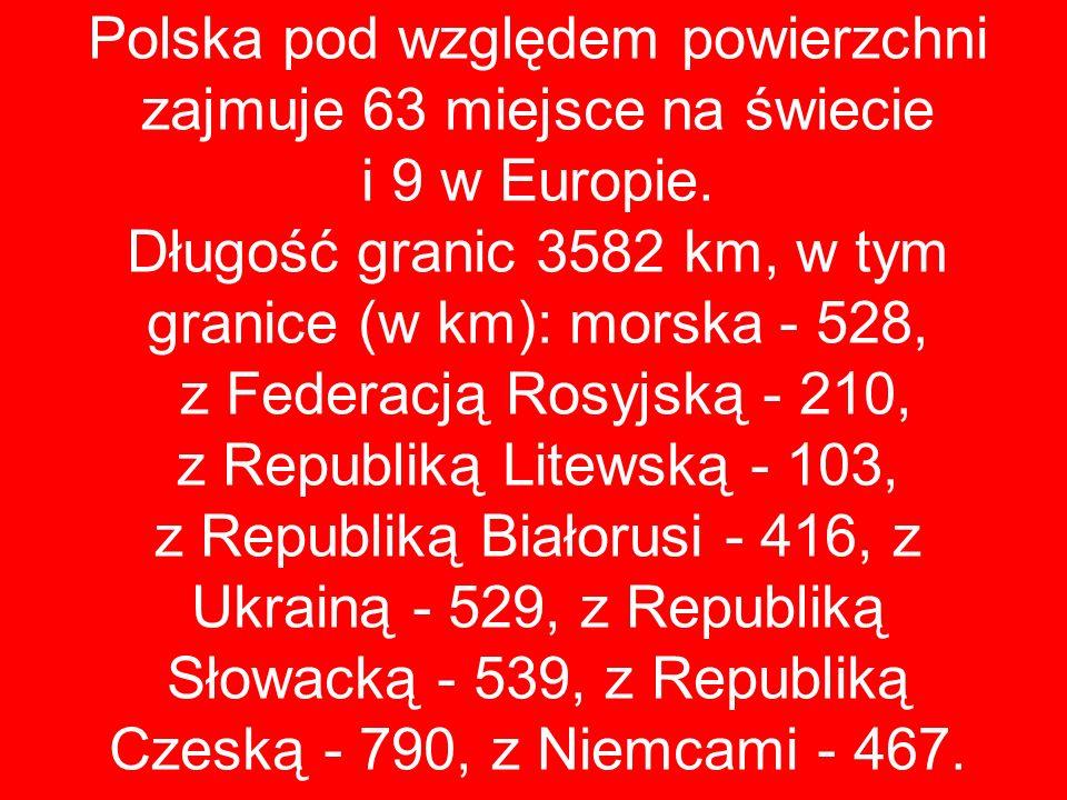 Polska pod względem powierzchni zajmuje 63 miejsce na świecie i 9 w Europie.
