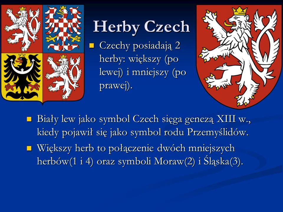 Herby Czech Czechy posiadają 2 herby: większy (po lewej) i mniejszy (po prawej).