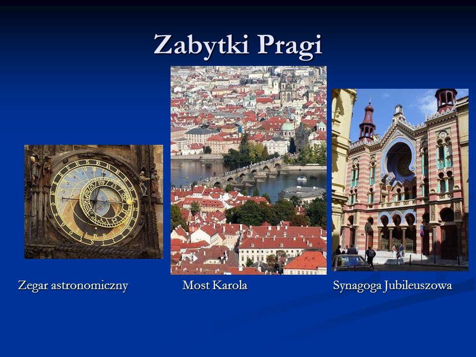 Zabytki Pragi Zegar astronomiczny Most Karola Synagoga Jubileuszowa.