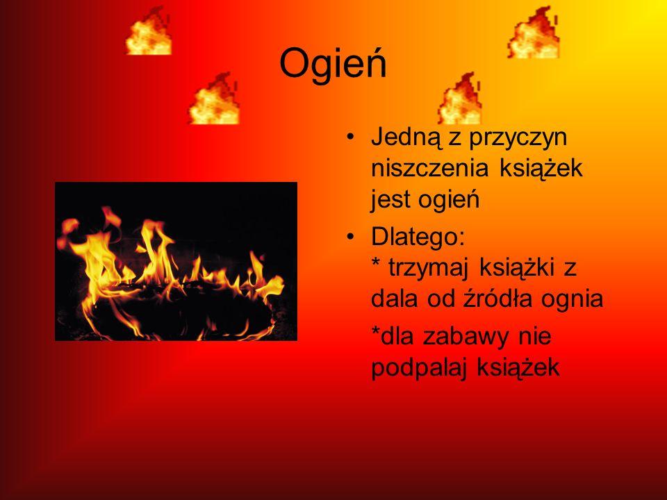 Ogień Jedną z przyczyn niszczenia książek jest ogień