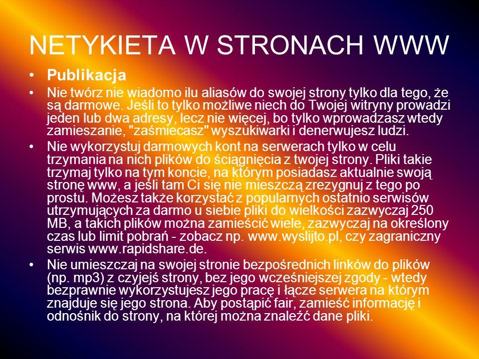 NETYKIETA W STRONACH WWW