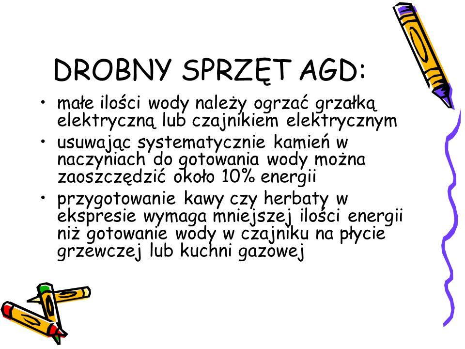 DROBNY SPRZĘT AGD: małe ilości wody należy ogrzać grzałką elektryczną lub czajnikiem elektrycznym.