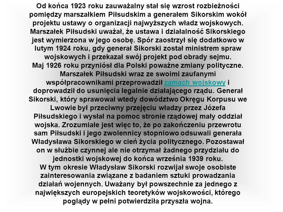 Od końca 1923 roku zauważalny stał się wzrost rozbieżności pomiędzy marszałkiem Piłsudskim a generałem Sikorskim wokół projektu ustawy o organizacji najwyższych władz wojskowych. Marszałek Piłsudski uważał, że ustawa i działalność Sikorskiego jest wymierzona w jego osobę. Spór zaostrzył się dodatkowo w lutym 1924 roku, gdy generał Sikorski został ministrem spraw wojskowych i przekazał swój projekt pod obrady sejmu.