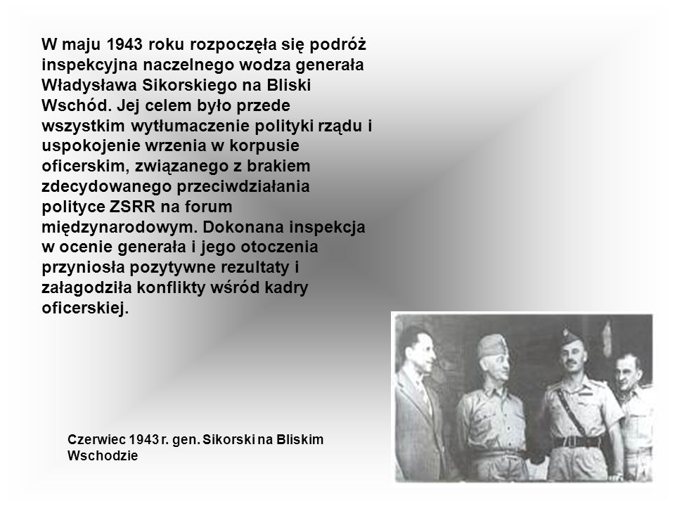W maju 1943 roku rozpoczęła się podróż inspekcyjna naczelnego wodza generała Władysława Sikorskiego na Bliski Wschód. Jej celem było przede wszystkim wytłumaczenie polityki rządu i uspokojenie wrzenia w korpusie oficerskim, związanego z brakiem zdecydowanego przeciwdziałania polityce ZSRR na forum międzynarodowym. Dokonana inspekcja w ocenie generała i jego otoczenia przyniosła pozytywne rezultaty i załagodziła konflikty wśród kadry oficerskiej.