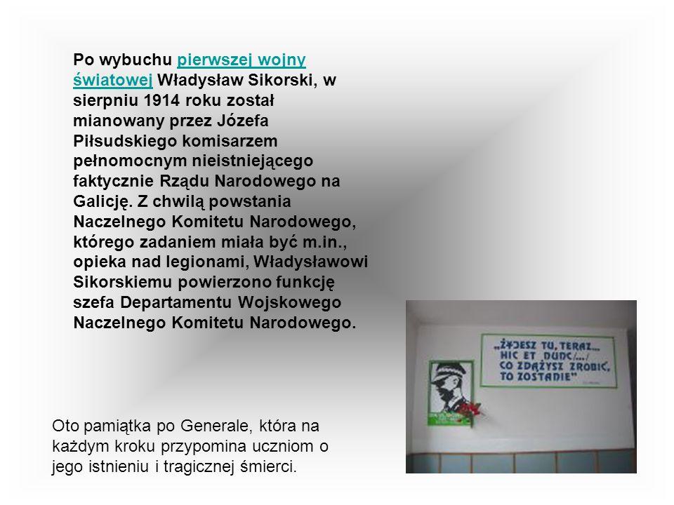 Po wybuchu pierwszej wojny światowej Władysław Sikorski, w sierpniu 1914 roku został mianowany przez Józefa Piłsudskiego komisarzem pełnomocnym nieistniejącego faktycznie Rządu Narodowego na Galicję. Z chwilą powstania Naczelnego Komitetu Narodowego, którego zadaniem miała być m.in., opieka nad legionami, Władysławowi Sikorskiemu powierzono funkcję szefa Departamentu Wojskowego Naczelnego Komitetu Narodowego.