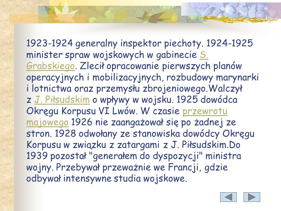 1923-1924 generalny inspektor piechoty