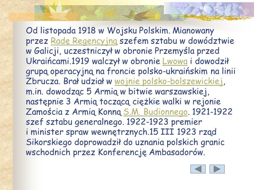 Od listopada 1918 w Wojsku Polskim