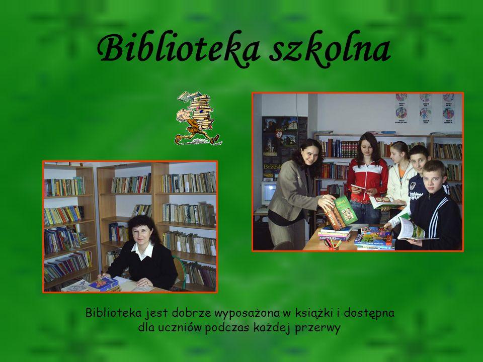 Biblioteka szkolna Biblioteka jest dobrze wyposażona w książki i dostępna dla uczniów podczas każdej przerwy.