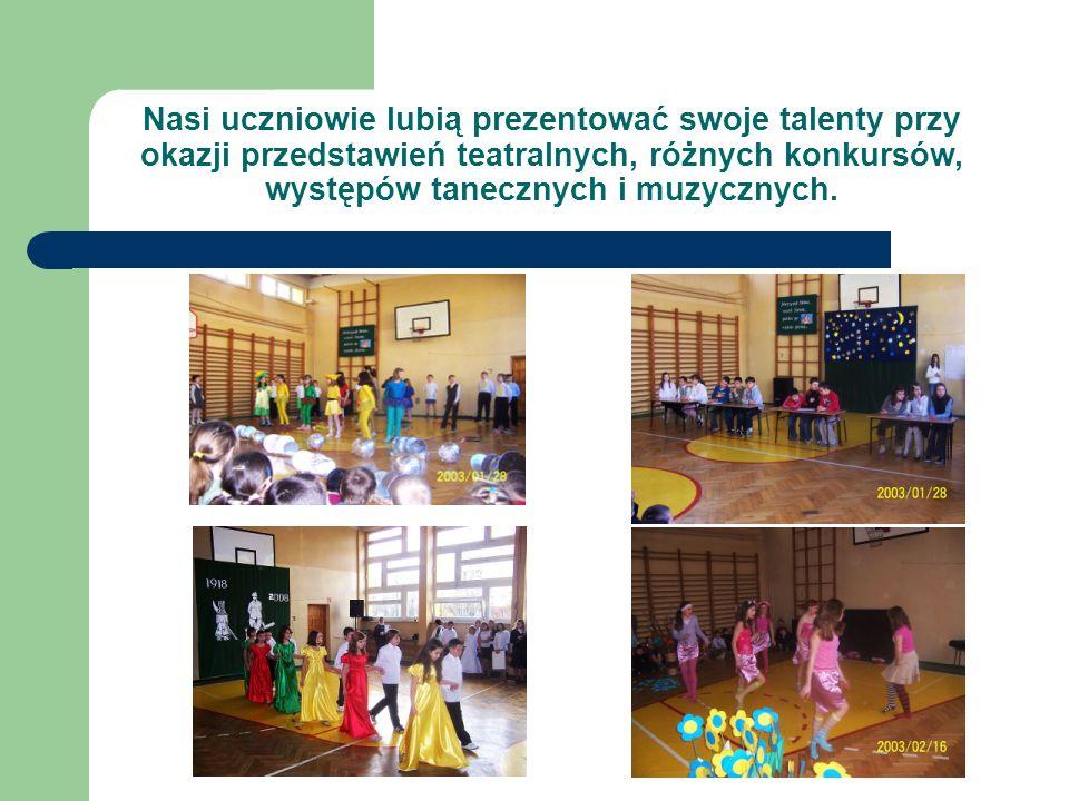 Nasi uczniowie lubią prezentować swoje talenty przy okazji przedstawień teatralnych, różnych konkursów, występów tanecznych i muzycznych.