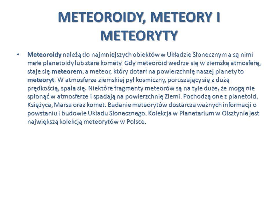 METEOROIDY, METEORY I METEORYTY