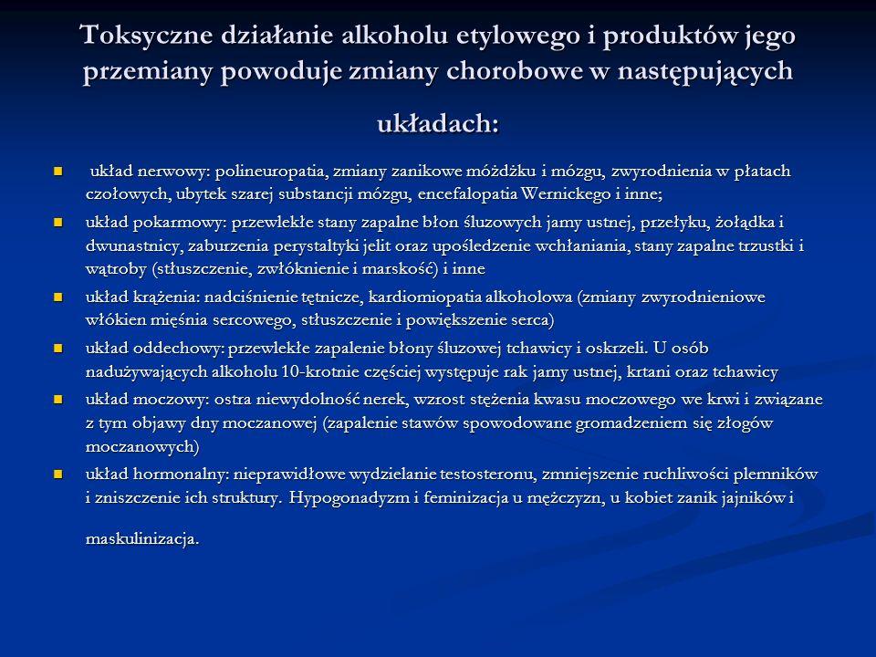 Toksyczne działanie alkoholu etylowego i produktów jego przemiany powoduje zmiany chorobowe w następujących układach: