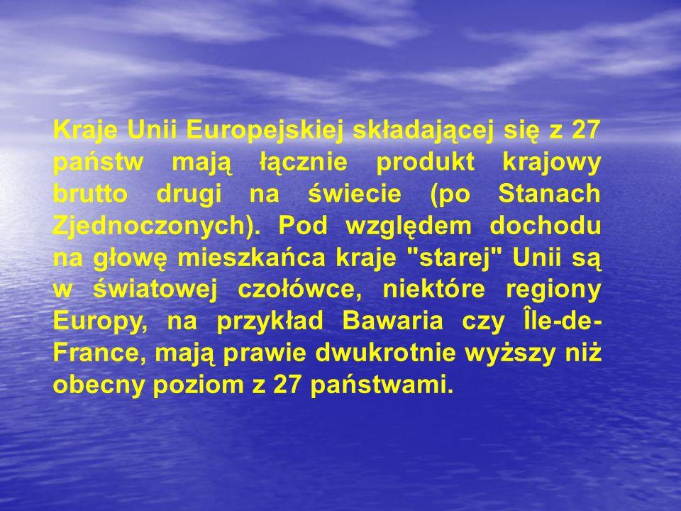 Kraje Unii Europejskiej składającej się z 27 państw mają łącznie produkt krajowy brutto drugi na świecie (po Stanach Zjednoczonych).