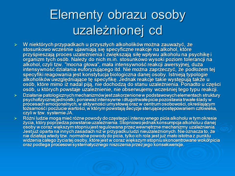 Elementy obrazu osoby uzależnionej cd