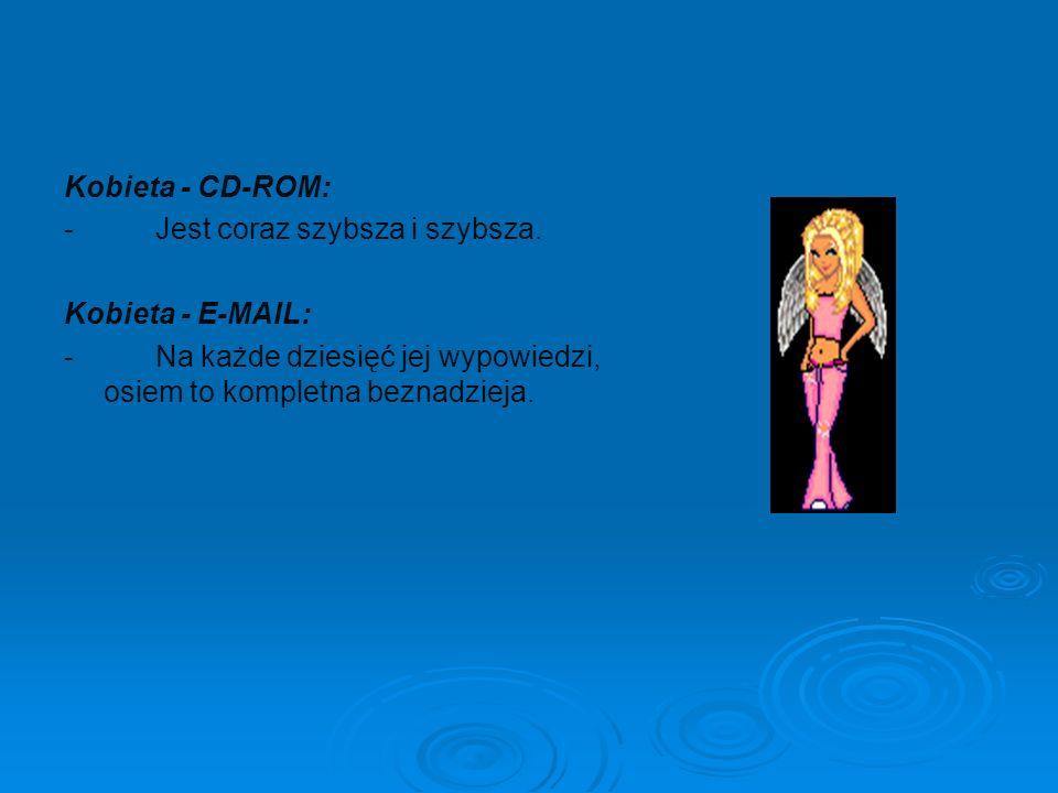 Kobieta - CD-ROM: - Jest coraz szybsza i szybsza. Kobieta - E-MAIL: