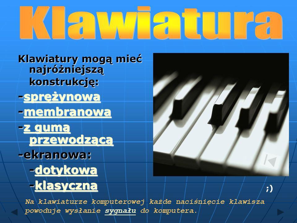 Klawiatura -sprężynowa -membranowa -z gumą przewodzącą -ekranowa: