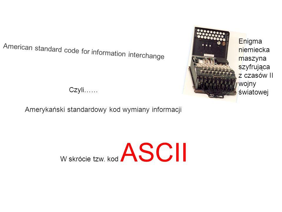 Enigma niemiecka. maszyna szyfrująca z czasów II wojny światowej. American standard code for information interchange.