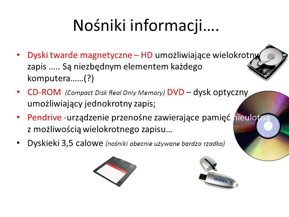 Nośniki informacji…. Dyski twarde magnetyczne – HD umożliwiające wielokrotny zapis ….. Są niezbędnym elementem każdego komputera……( )