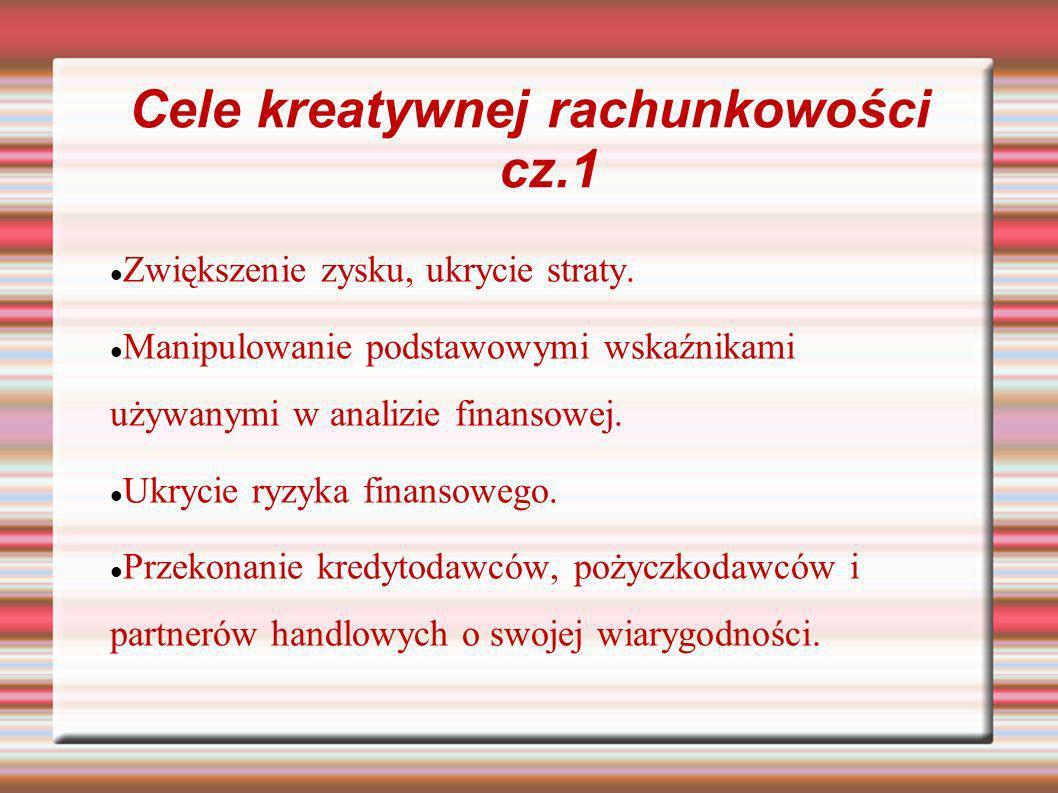 Cele kreatywnej rachunkowości cz.1