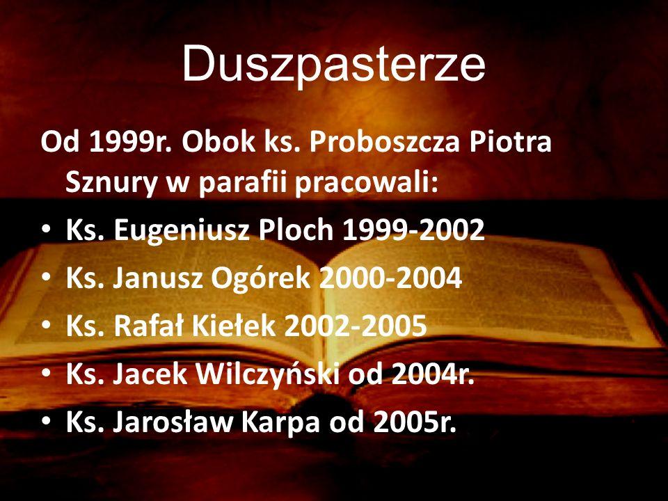 Duszpasterze Od 1999r. Obok ks. Proboszcza Piotra Sznury w parafii pracowali: Ks. Eugeniusz Ploch 1999-2002.