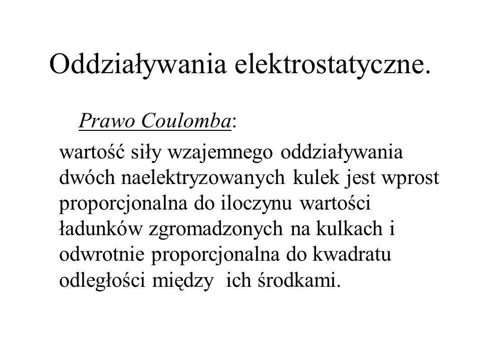 Oddziaływania elektrostatyczne.