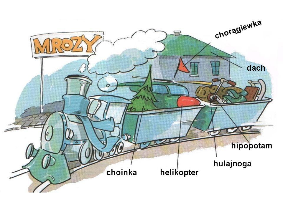 chorągiewka dach hipopotam hulajnoga choinka helikopter