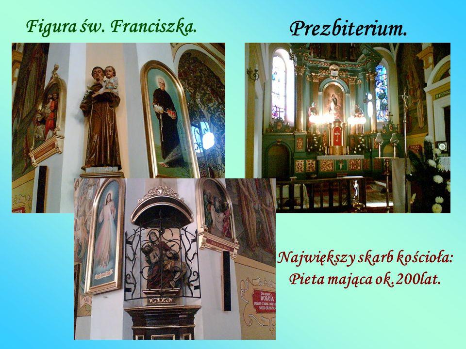 Prezbiterium. Figura św. Franciszka. Największy skarb kościoła: