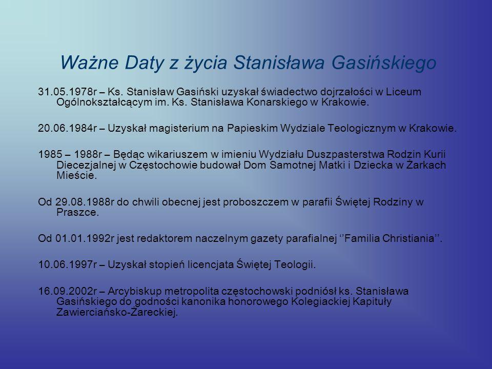 Ważne Daty z życia Stanisława Gasińskiego