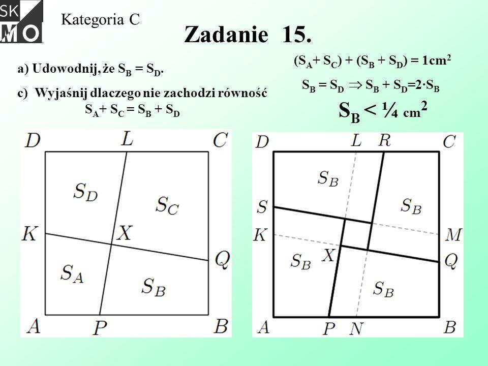 Zadanie 15. SB < ¼ cm2 Kategoria C (SA+ SC) + (SB + SD) = 1cm2