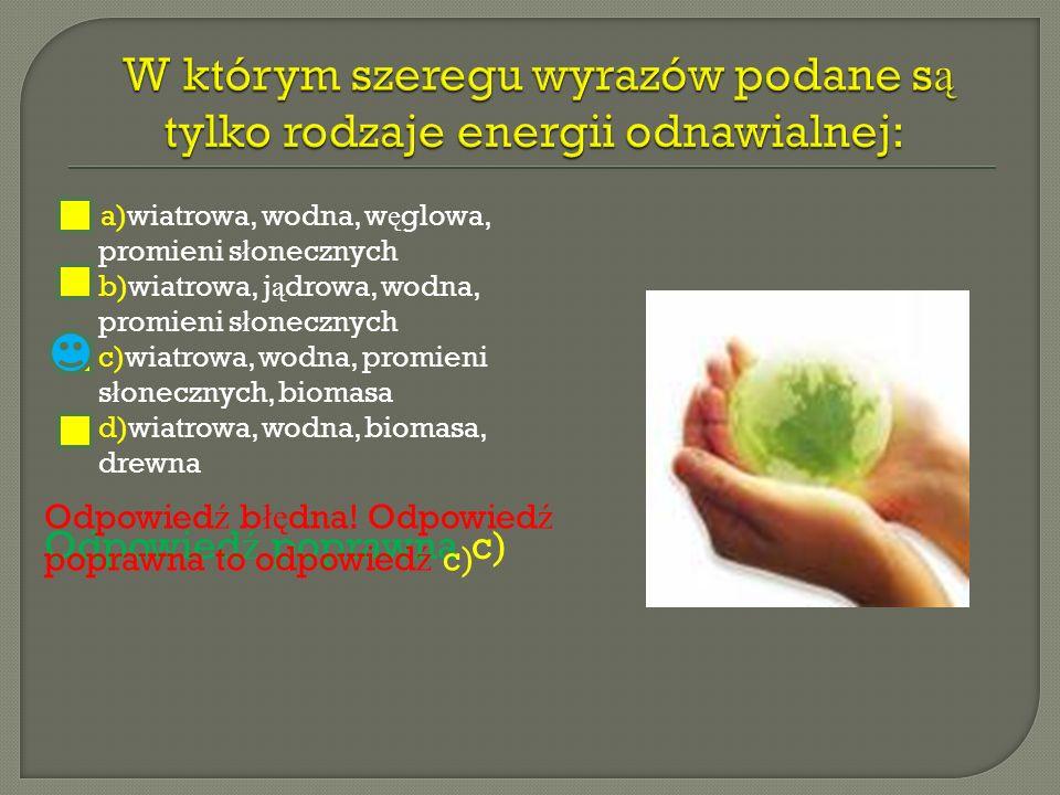 W którym szeregu wyrazów podane są tylko rodzaje energii odnawialnej: