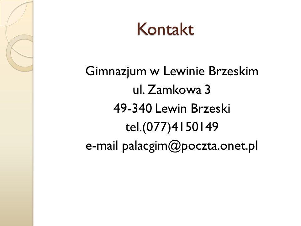 Kontakt Gimnazjum w Lewinie Brzeskim ul.