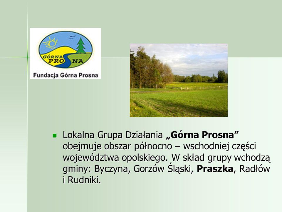 """Lokalna Grupa Działania """"Górna Prosna obejmuje obszar północno – wschodniej części województwa opolskiego."""