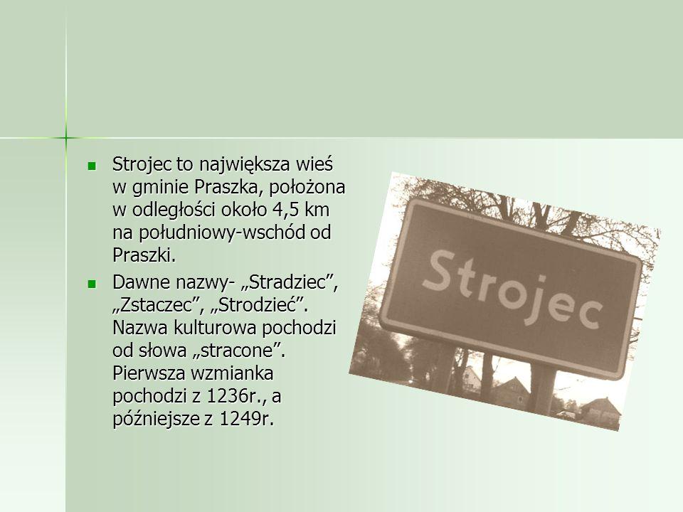 Strojec to największa wieś w gminie Praszka, położona w odległości około 4,5 km na południowy-wschód od Praszki.