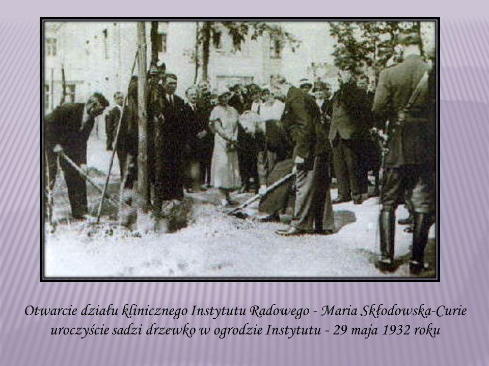 Otwarcie działu klinicznego Instytutu Radowego - Maria Skłodowska-Curie uroczyście sadzi drzewko w ogrodzie Instytutu - 29 maja 1932 roku
