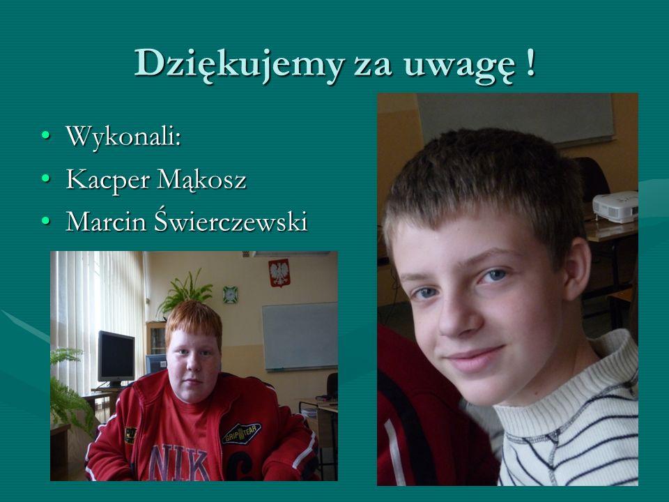 Dziękujemy za uwagę ! Wykonali: Kacper Mąkosz Marcin Świerczewski