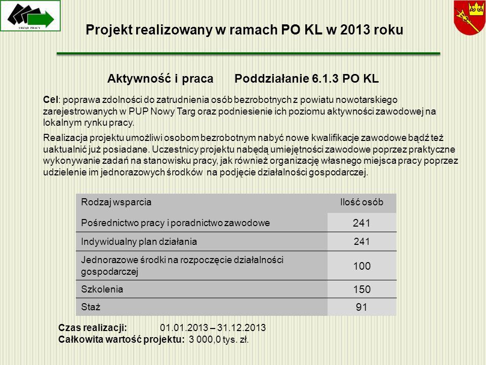 Projekt realizowany w ramach PO KL w 2013 roku
