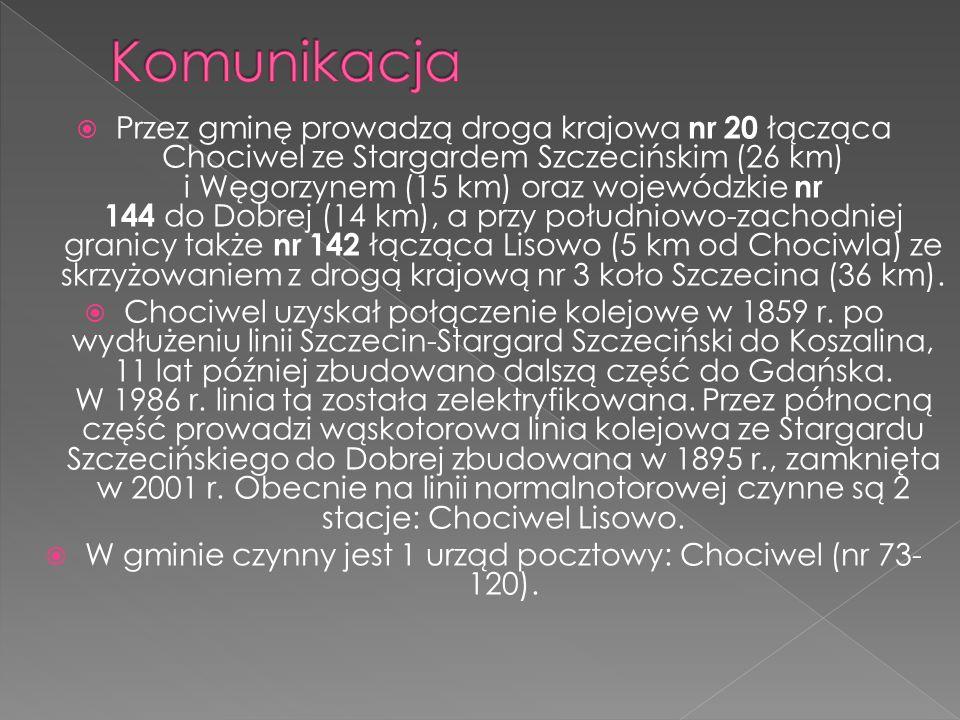 W gminie czynny jest 1 urząd pocztowy: Chociwel (nr 73-120).