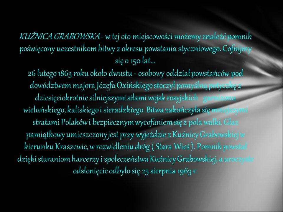 KUŹNICA GRABOWSKA - w tej oto miejscowości możemy znaleźć pomnik poświęcony uczestnikom bitwy z okresu powstania styczniowego. Cofnijmy się o 150 lat...
