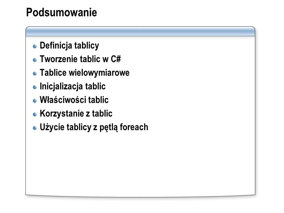 Podsumowanie Definicja tablicy Tworzenie tablic w C#