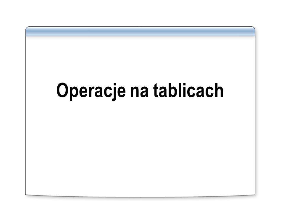 Operacje na tablicach