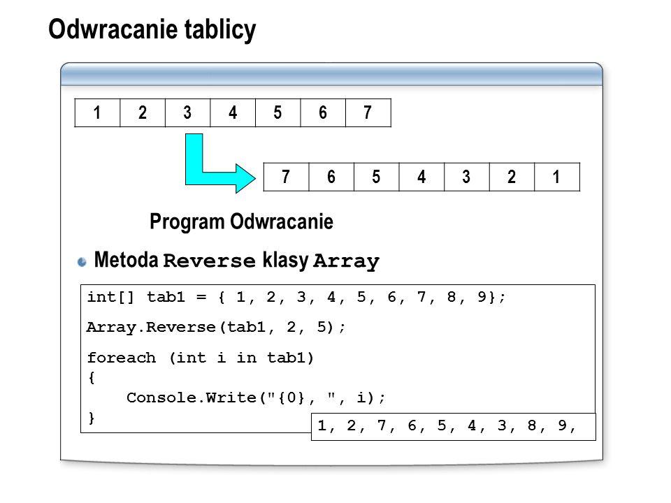 Odwracanie tablicy Metoda Reverse klasy Array Program Odwracanie 1 2 3