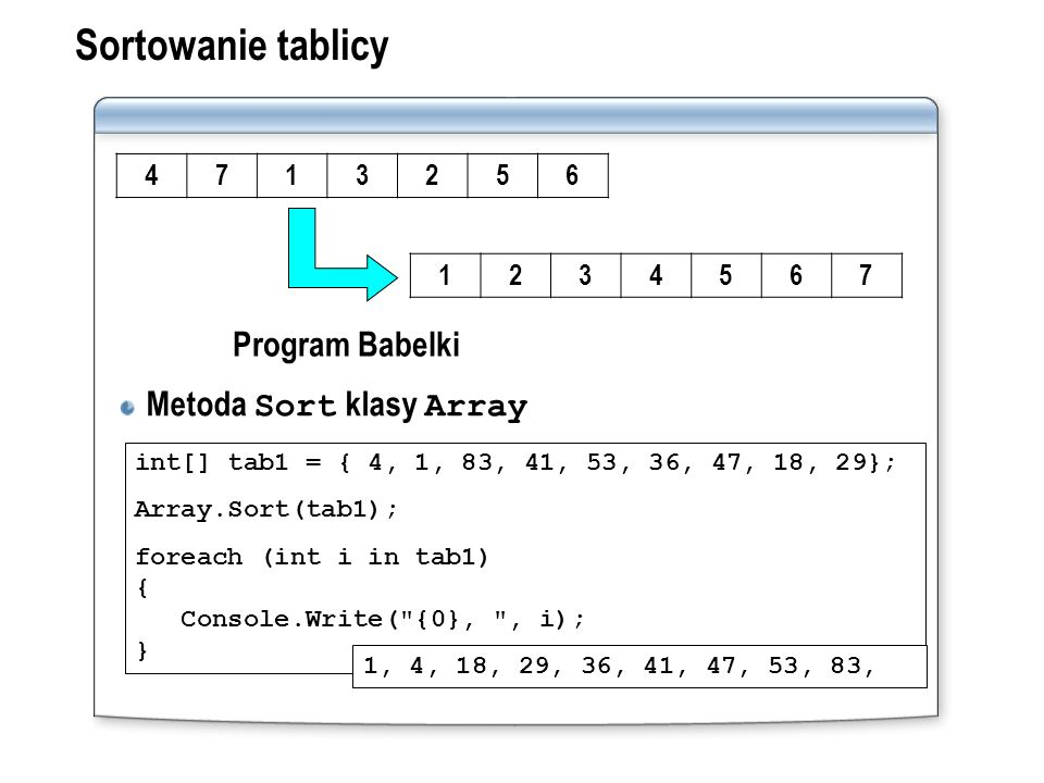 Sortowanie tablicy Metoda Sort klasy Array Program Babelki 4 7 1 3 2 5